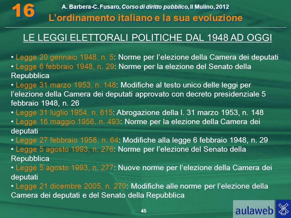 45 A. Barbera-C. Fusaro, Corso di diritto pubblico, Il Mulino, 2012 L'ordinamento italiano e la sua evoluzione A. Barbera-C. Fusaro, Corso di diritto