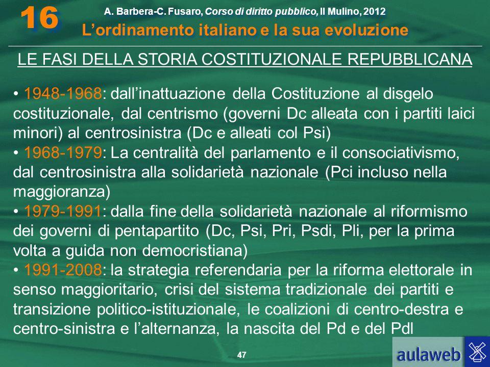 47 A. Barbera-C. Fusaro, Corso di diritto pubblico, Il Mulino, 2012 L'ordinamento italiano e la sua evoluzione A. Barbera-C. Fusaro, Corso di diritto