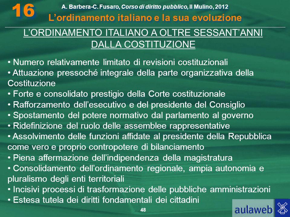 48 A. Barbera-C. Fusaro, Corso di diritto pubblico, Il Mulino, 2012 L'ordinamento italiano e la sua evoluzione A. Barbera-C. Fusaro, Corso di diritto