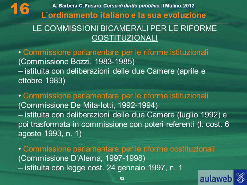 53 A. Barbera-C. Fusaro, Corso di diritto pubblico, Il Mulino, 2012 L'ordinamento italiano e la sua evoluzione A. Barbera-C. Fusaro, Corso di diritto