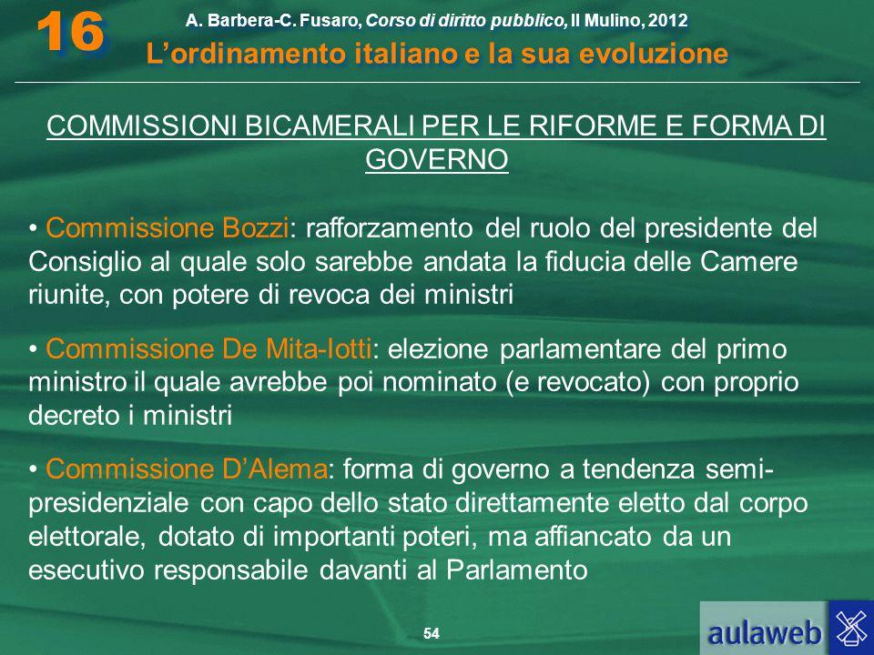 54 A. Barbera-C. Fusaro, Corso di diritto pubblico, Il Mulino, 2012 L'ordinamento italiano e la sua evoluzione A. Barbera-C. Fusaro, Corso di diritto