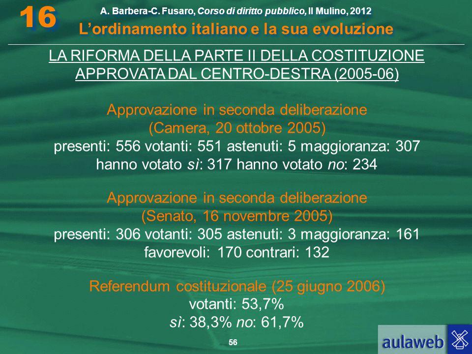 56 A. Barbera-C. Fusaro, Corso di diritto pubblico, Il Mulino, 2012 L'ordinamento italiano e la sua evoluzione A. Barbera-C. Fusaro, Corso di diritto