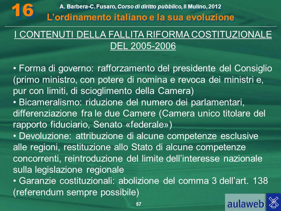 57 A. Barbera-C. Fusaro, Corso di diritto pubblico, Il Mulino, 2012 L'ordinamento italiano e la sua evoluzione A. Barbera-C. Fusaro, Corso di diritto