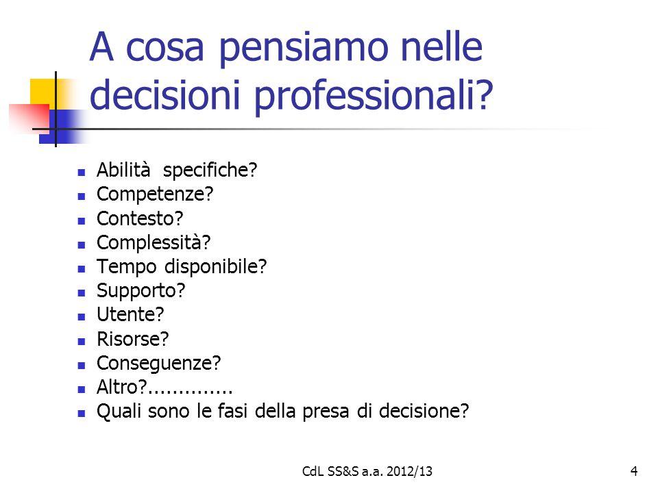 A cosa pensiamo nelle decisioni professionali? Abilità specifiche? Competenze? Contesto? Complessità? Tempo disponibile? Supporto? Utente? Risorse? Co