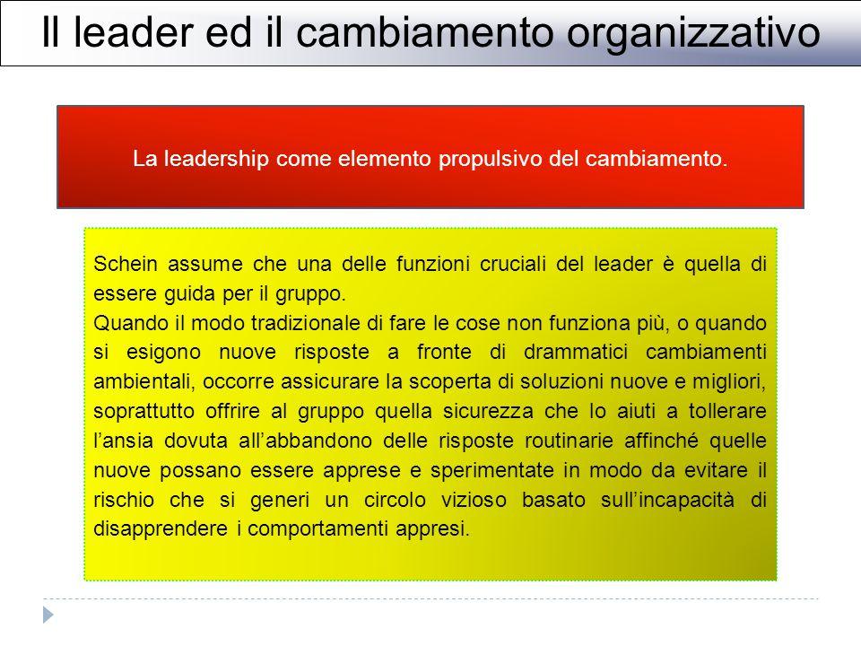 Il leader ed il cambiamento organizzativo La leadership come elemento propulsivo del cambiamento.