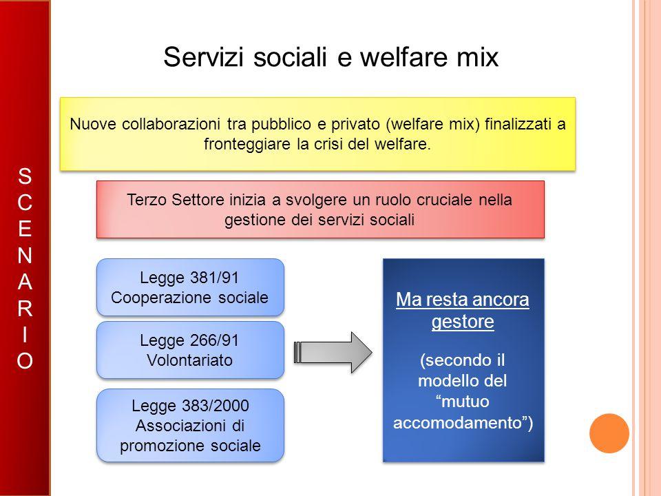 Servizi sociali e welfare mix SCENARIOSCENARIO Nuove collaborazioni tra pubblico e privato (welfare mix) finalizzati a fronteggiare la crisi del welfa