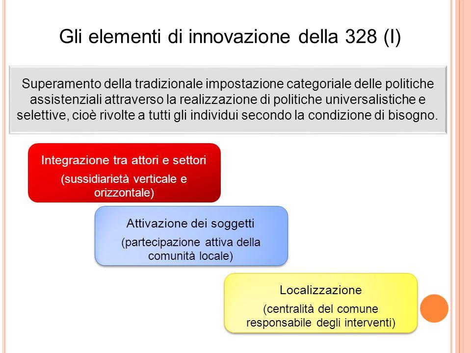 Gli elementi di innovazione della 328 (I) Superamento della tradizionale impostazione categoriale delle politiche assistenziali attraverso la realizza