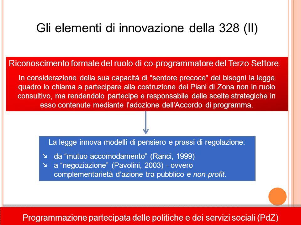 Gli elementi di innovazione della 328 (II) Riconoscimento formale del ruolo di co-programmatore del Terzo Settore. In considerazione della sua capacit
