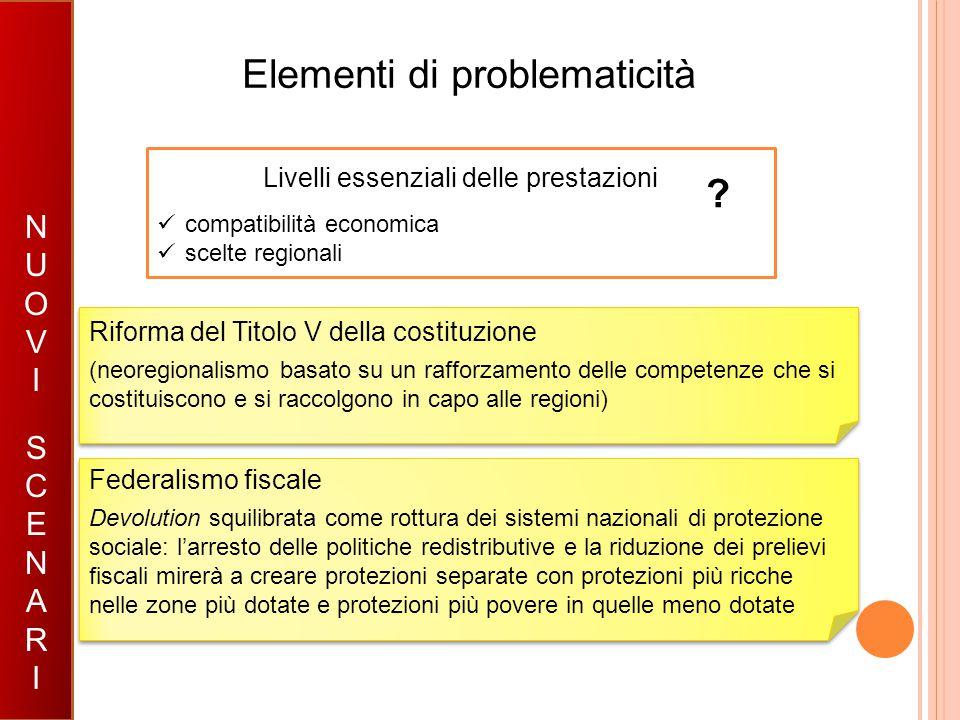Elementi di problematicità SCENARIOSCENARIO NUOVISCENARINUOVISCENARI Riforma del Titolo V della costituzione (neoregionalismo basato su un rafforzamen