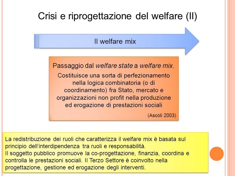 Crisi e riprogettazione del welfare (II) Il welfare mix Passaggio dal welfare state a welfare mix. Costituisce una sorta di perfezionamento nella logi