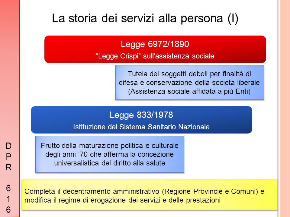 """La storia dei servizi alla persona (I) Legge 833/1978 Istituzione del Sistema Sanitario Nazionale Legge 6972/1890 """"Legge Crispi"""" sull'assistenza socia"""