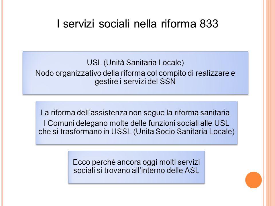 I servizi sociali nella riforma 833 USL (Unità Sanitaria Locale) Nodo organizzativo della riforma col compito di realizzare e gestire i servizi del SS