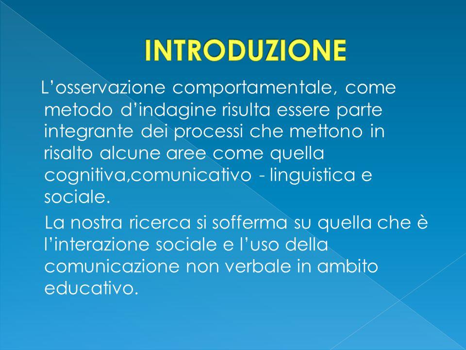 L'osservazione comportamentale, come metodo d'indagine risulta essere parte integrante dei processi che mettono in risalto alcune aree come quella cognitiva,comunicativo - linguistica e sociale.
