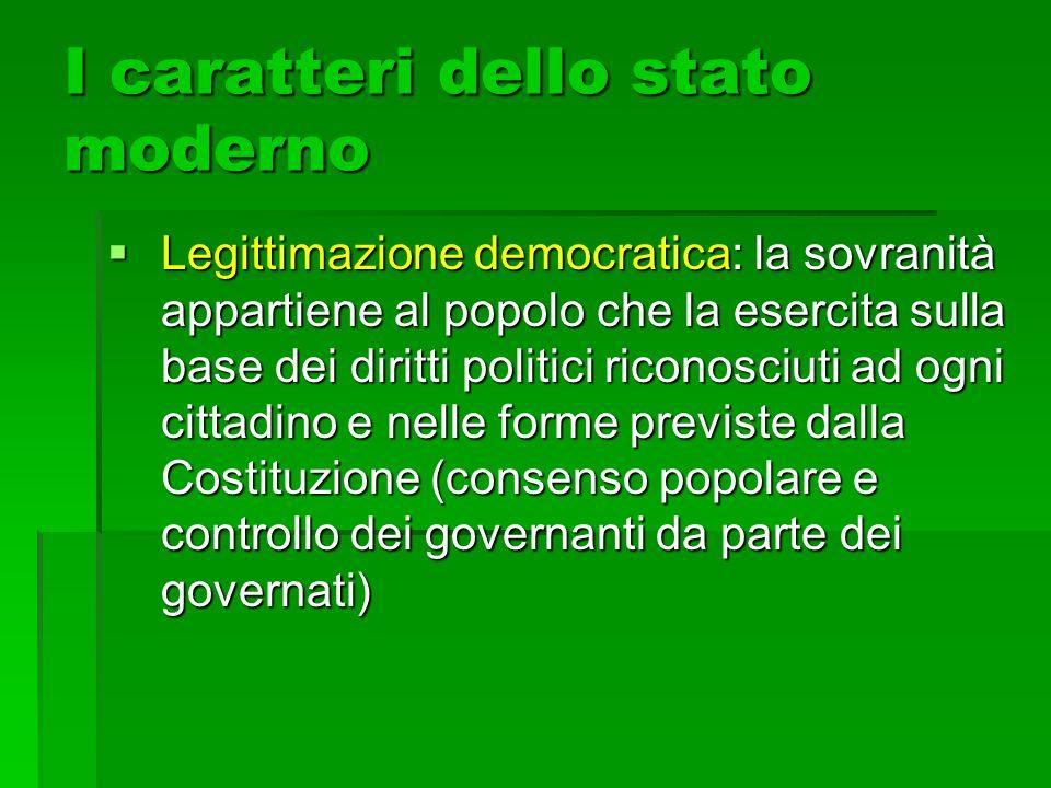 I caratteri dello stato moderno  Legittimazione democratica: la sovranità appartiene al popolo che la esercita sulla base dei diritti politici ricono