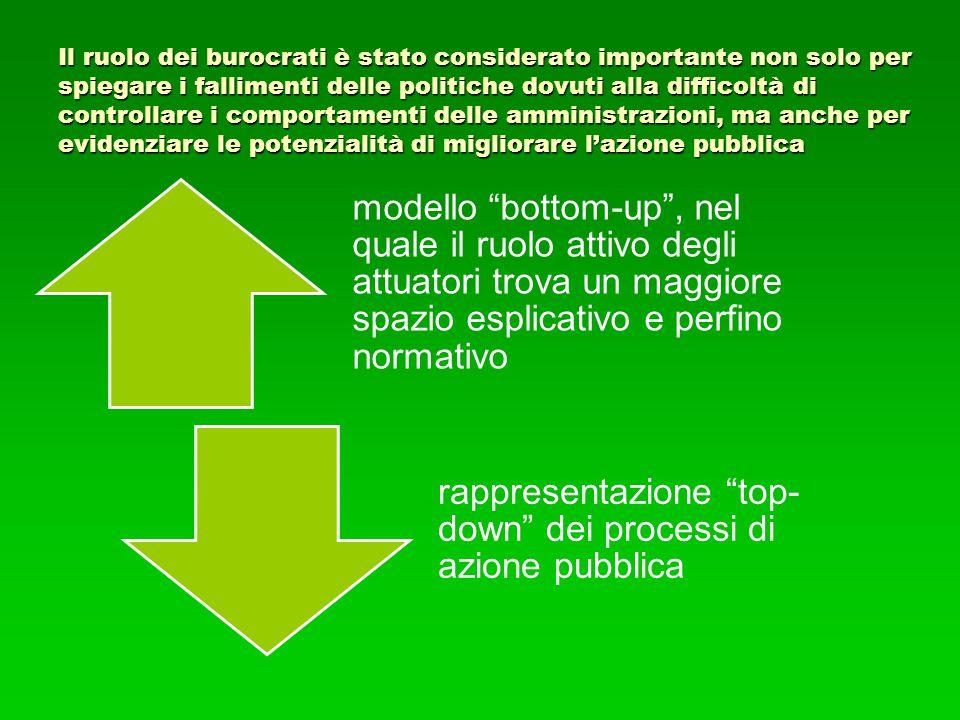 Il ruolo dei burocrati è stato considerato importante non solo per spiegare i fallimenti delle politiche dovuti alla difficoltà di controllare i compo