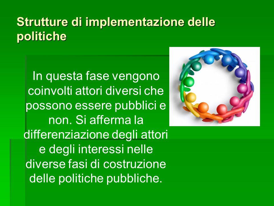 Strutture di implementazione delle politiche In questa fase vengono coinvolti attori diversi che possono essere pubblici e non. Si afferma la differen