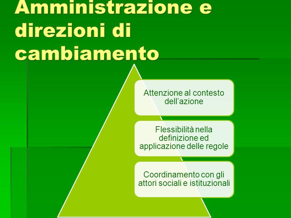 Attenzione al contesto dell'azione Flessibilità nella definizione ed applicazione delle regole Coordinamento con gli attori sociali e istituzionali