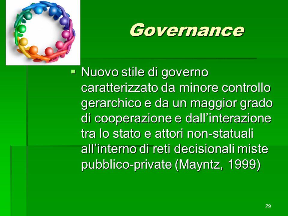Governance  Nuovo stile di governo caratterizzato da minore controllo gerarchico e da un maggior grado di cooperazione e dall'interazione tra lo stat
