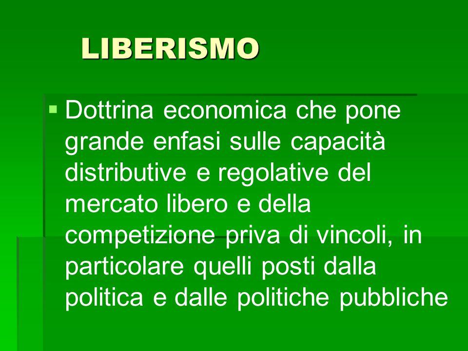 LIBERISMO   Dottrina economica che pone grande enfasi sulle capacità distributive e regolative del mercato libero e della competizione priva di vinc