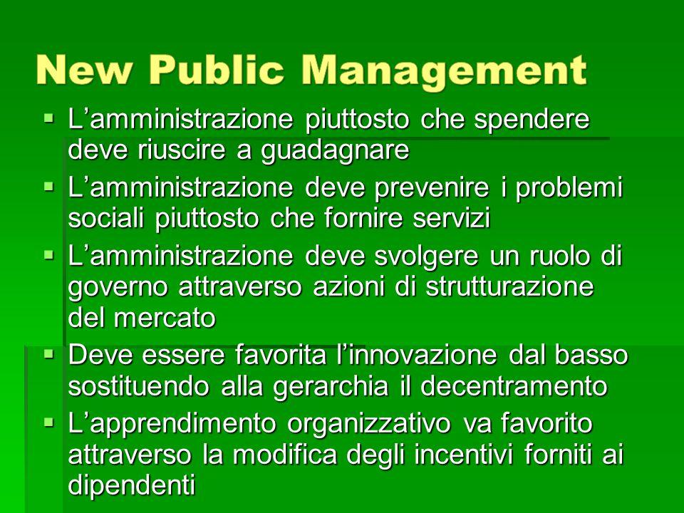  L'amministrazione piuttosto che spendere deve riuscire a guadagnare  L'amministrazione deve prevenire i problemi sociali piuttosto che fornire serv