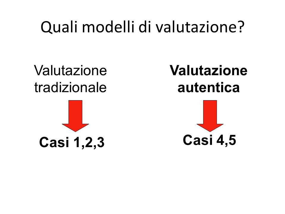Quali modelli di valutazione? Valutazione tradizionale Valutazione autentica Casi 1,2,3 Casi 4,5