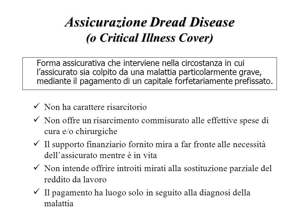 Assicurazione Dread Disease (o Critical Illness Cover) Forma assicurativa che interviene nella circostanza in cui l'assicurato sia colpito da una malattia particolarmente grave, mediante il pagamento di un capitale forfetariamente prefissato.