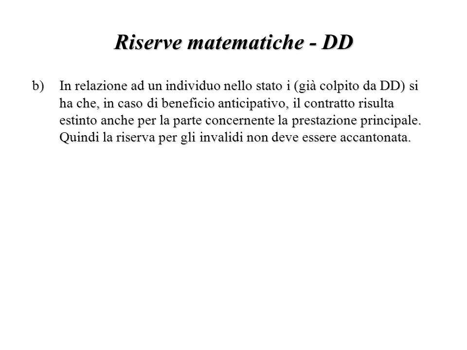 Riserve matematiche - DD In relazione ad un individuo nello stato i (già colpito da DD) si ha che, in caso di beneficio anticipativo, il contratto risulta estinto anche per la parte concernente la prestazione principale.