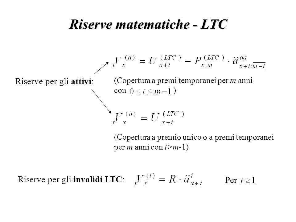 Riserve matematiche - LTC Riserve per gli attivi: Riserve per gli invalidi LTC: (Copertura a premi temporanei per m anni con ) (Copertura a premio unico o a premi temporanei per m anni con t>m-1)Per