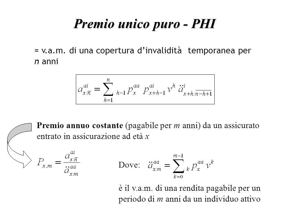 Premio unico puro - PHI = v.a.m.
