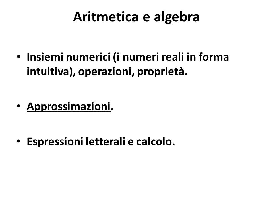 Aritmetica e algebra Insiemi numerici (i numeri reali in forma intuitiva), operazioni, proprietà. Approssimazioni. Espressioni letterali e calcolo.