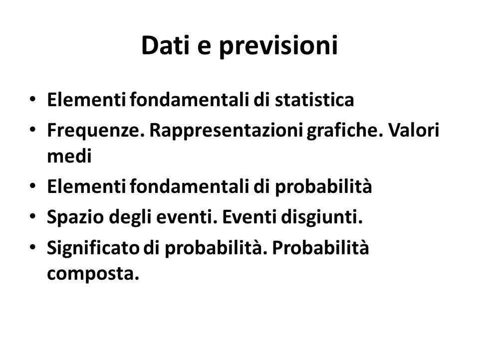 Dati e previsioni Elementi fondamentali di statistica Frequenze. Rappresentazioni grafiche. Valori medi Elementi fondamentali di probabilità Spazio de