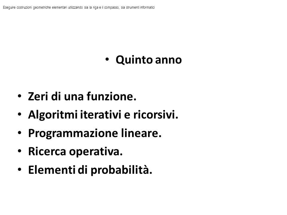 Quinto anno Zeri di una funzione. Algoritmi iterativi e ricorsivi. Programmazione lineare. Ricerca operativa. Elementi di probabilità. Eseguire costru