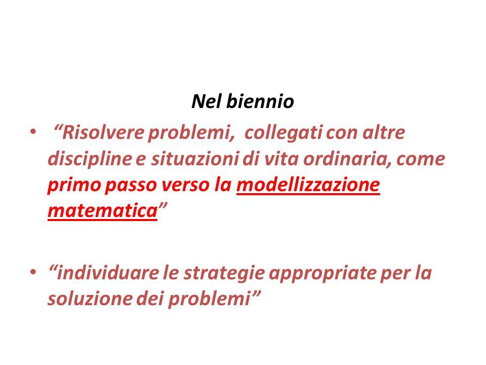 """Nel biennio """"Risolvere problemi, collegati con altre discipline e situazioni di vita ordinaria, come primo passo verso la modellizzazione matematica"""""""