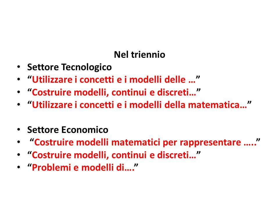 """Nel triennio Settore Tecnologico """"Utilizzare i concetti e i modelli delle …"""" """"Costruire modelli, continui e discreti…"""" """"Utilizzare i concetti e i mode"""