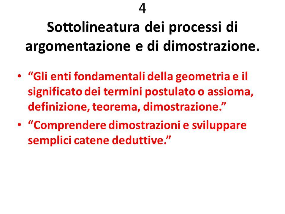 """4 Sottolineatura dei processi di argomentazione e di dimostrazione. """"Gli enti fondamentali della geometria e il significato dei termini postulato o as"""