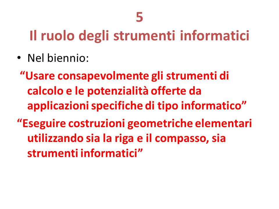"""5 Il ruolo degli strumenti informatici Nel biennio: """"Usare consapevolmente gli strumenti di calcolo e le potenzialità offerte da applicazioni specific"""