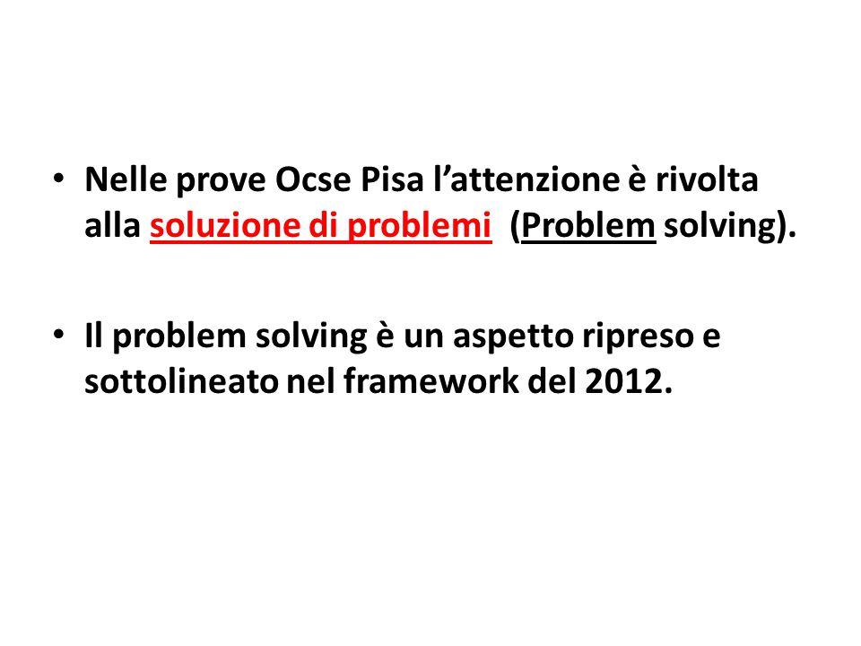 Nelle prove Ocse Pisa l'attenzione è rivolta alla soluzione di problemi (Problem solving). Il problem solving è un aspetto ripreso e sottolineato nel
