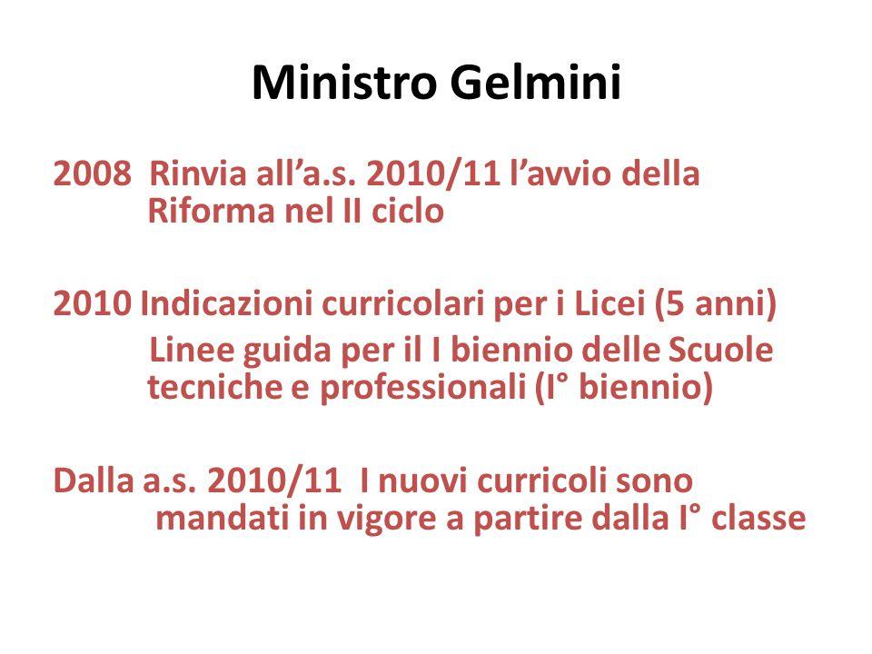 Ministro Gelmini 2008 Rinvia all'a.s. 2010/11 l'avvio della Riforma nel II ciclo 2010 Indicazioni curricolari per i Licei (5 anni) Linee guida per il