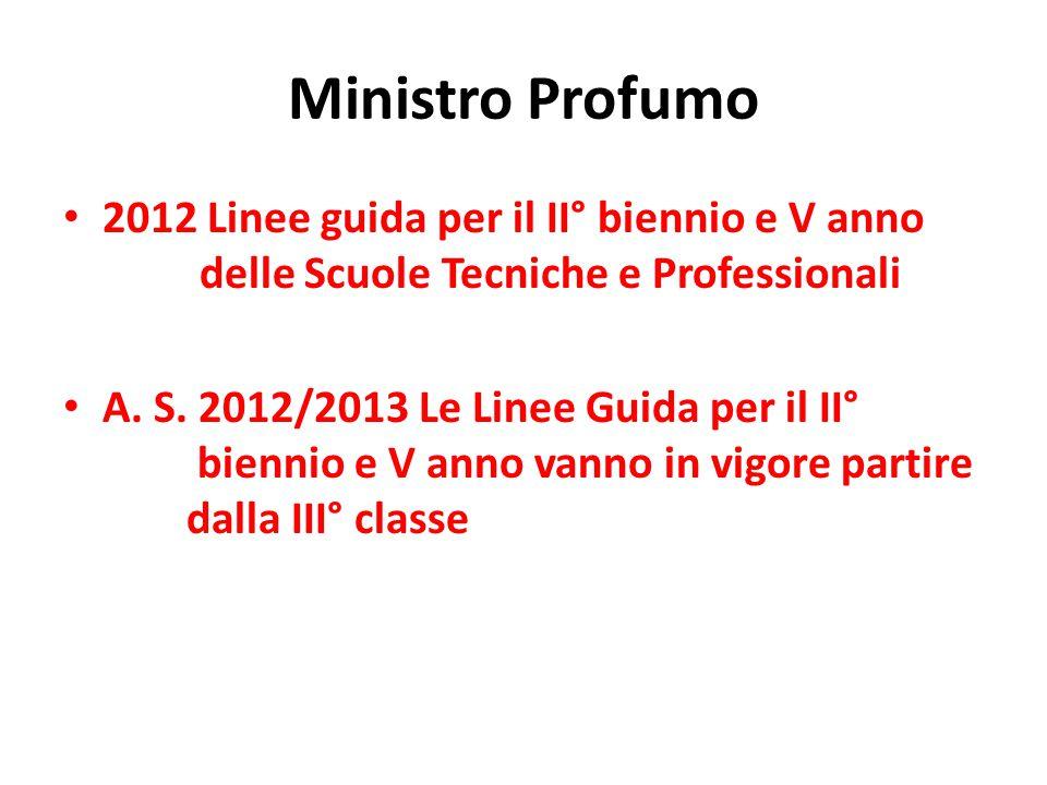 Ministro Profumo 2012 Linee guida per il II° biennio e V anno delle Scuole Tecniche e Professionali A. S. 2012/2013 Le Linee Guida per il II° biennio