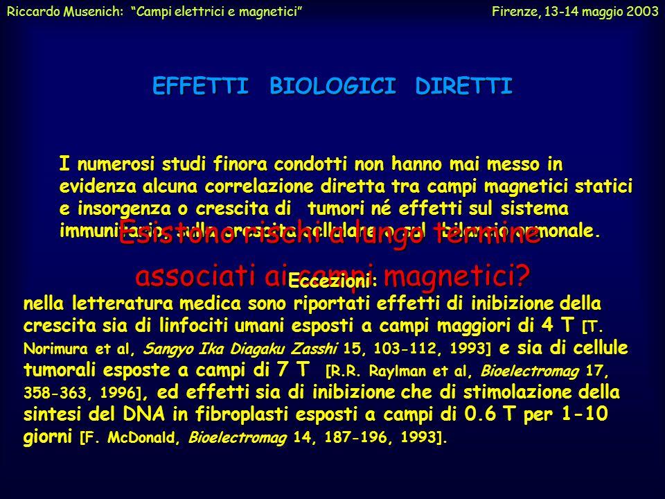 EFFETTI BIOLOGICI DIRETTI Influenza sulle reazioni chimiche È noto che molte reazioni chimiche sono influenzate da campi magnetici anche dell'ordine d