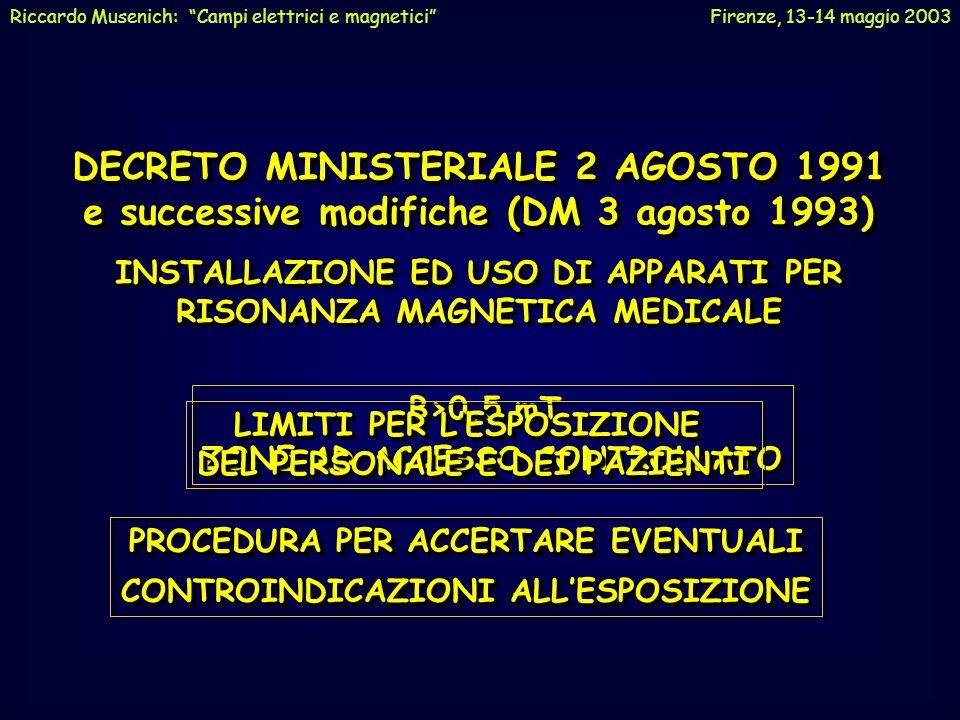 NORMATIVANORMATIVA NORMA CEI-ENV 50166-1 (MAGGIO 1995) PER I CAMPI MAGNETICI STATICI E ALTERNATI CON FREQUENZA FINO A 1 HZ PER I CAMPI MAGNETICI STATI
