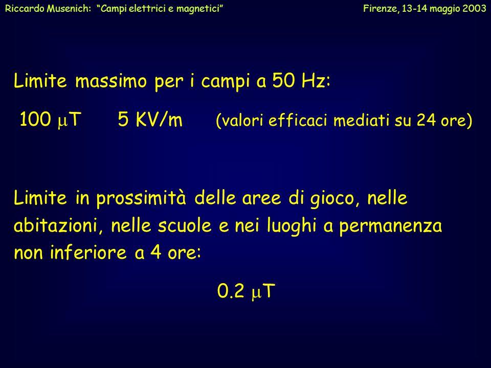 """Riccardo Musenich: """"Campi elettrici e magnetici"""" Firenze, 13-14 maggio 2003 Campi a bassa frequenza Non ci sono evidenze di effetti dei campi elettrom"""