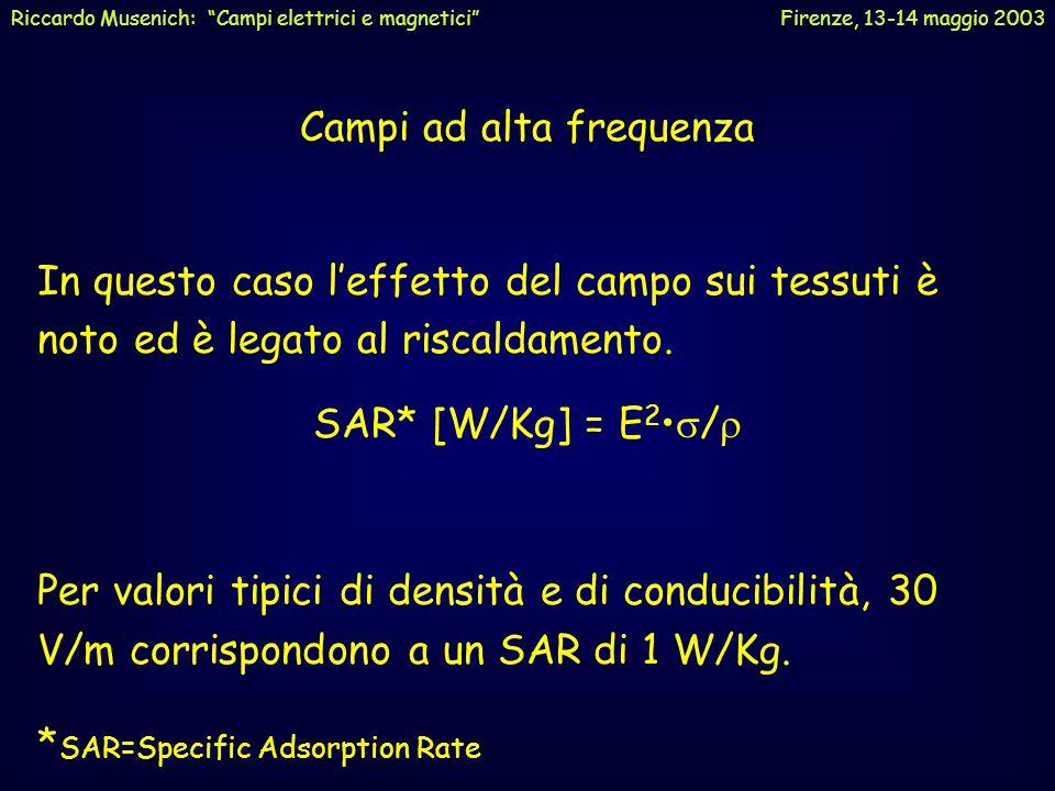 """Riccardo Musenich: """"Campi elettrici e magnetici"""" Firenze, 13-14 maggio 2003 Limite massimo per i campi a 50 Hz: 100  T5 KV/m (valori efficaci mediati"""