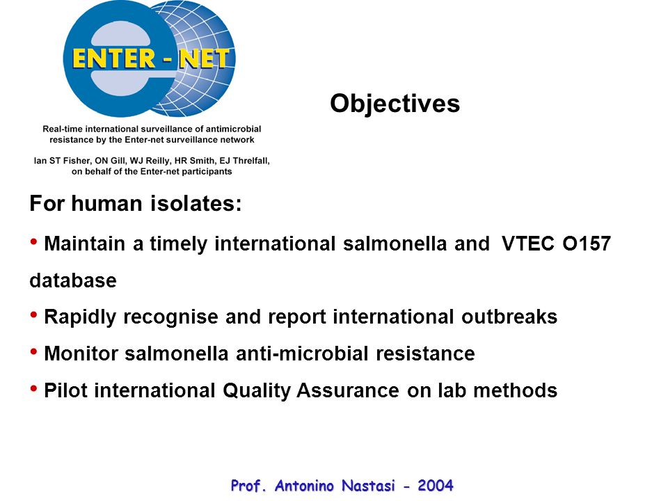 For human isolates: Maintain a timely international salmonella and VTEC O157 database Rapidly recognise and report international outbreaks Monitor salmonella anti-microbial resistance Pilot international Quality Assurance on lab methods Objectives