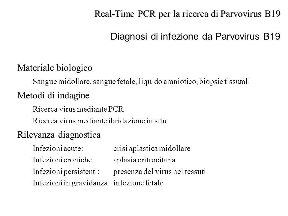 Materiale biologico Sangue midollare, sangue fetale, liquido amniotico, biopsie tissutali Metodi di indagine Ricerca virus mediante PCR Ricerca virus