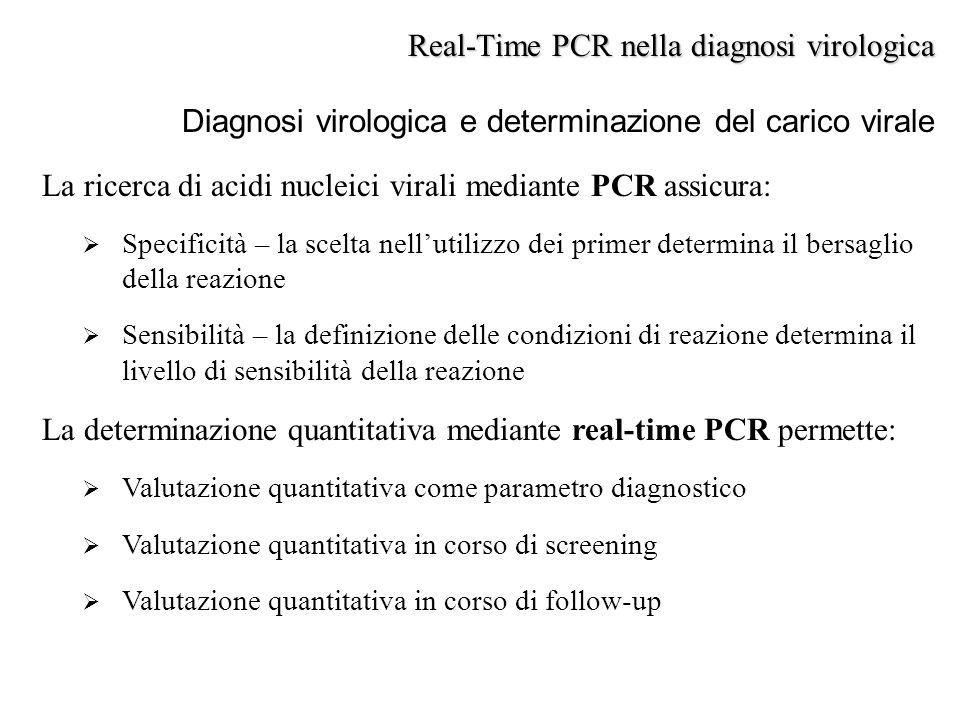 La ricerca di acidi nucleici virali mediante PCR assicura:  Specificità – la scelta nell'utilizzo dei primer determina il bersaglio della reazione 
