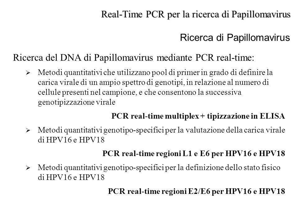 Ricerca di Papillomavirus Ricerca del DNA di Papillomavirus mediante PCR real-time:  Metodi quantitativi che utilizzano pool di primer in grado di de