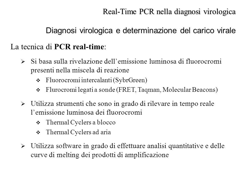 La tecnica di PCR real-time:  Si basa sulla rivelazione dell'emissione luminosa di fluorocromi presenti nella miscela di reazione  Fluorocromi inter