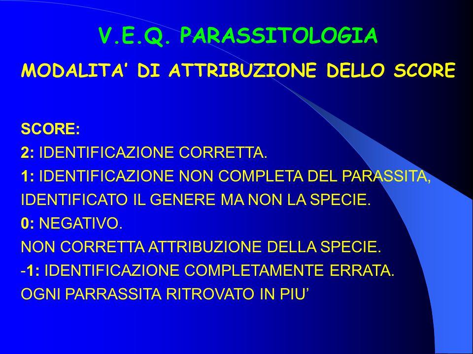 V.E.Q. PARASSITOLOGIA MODALITA' DI ATTRIBUZIONE DELLO SCORE SCORE: 2: IDENTIFICAZIONE CORRETTA. 1: IDENTIFICAZIONE NON COMPLETA DEL PARASSITA, IDENTIF