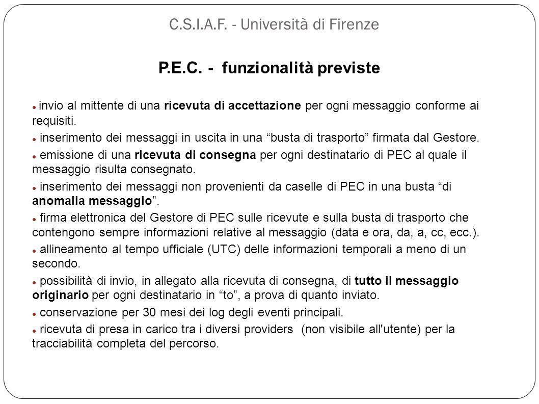 P.E.C. - funzionalità previste invio al mittente di una ricevuta di accettazione per ogni messaggio conforme ai requisiti. inserimento dei messaggi in